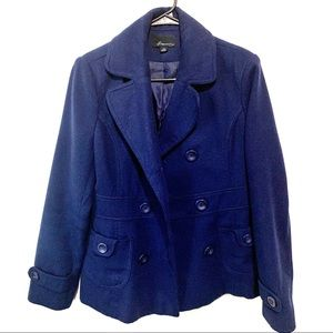 Forever 21 Navy Blue Double Breasted Peacoat Large